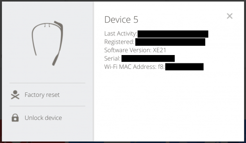 Finding the MAC Address of Google Glass