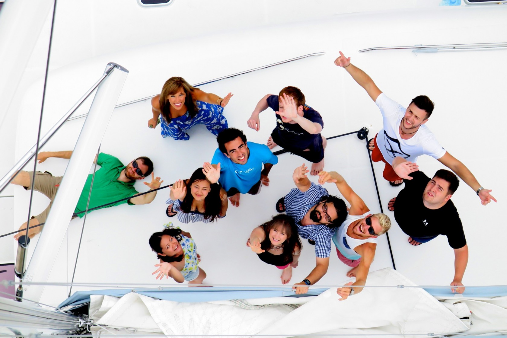 Most of us on the Yacht Hack yacht roof