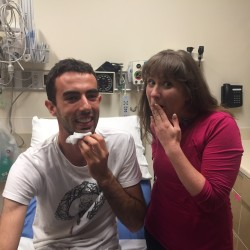 Sam and Julie in hospital before getting stitches