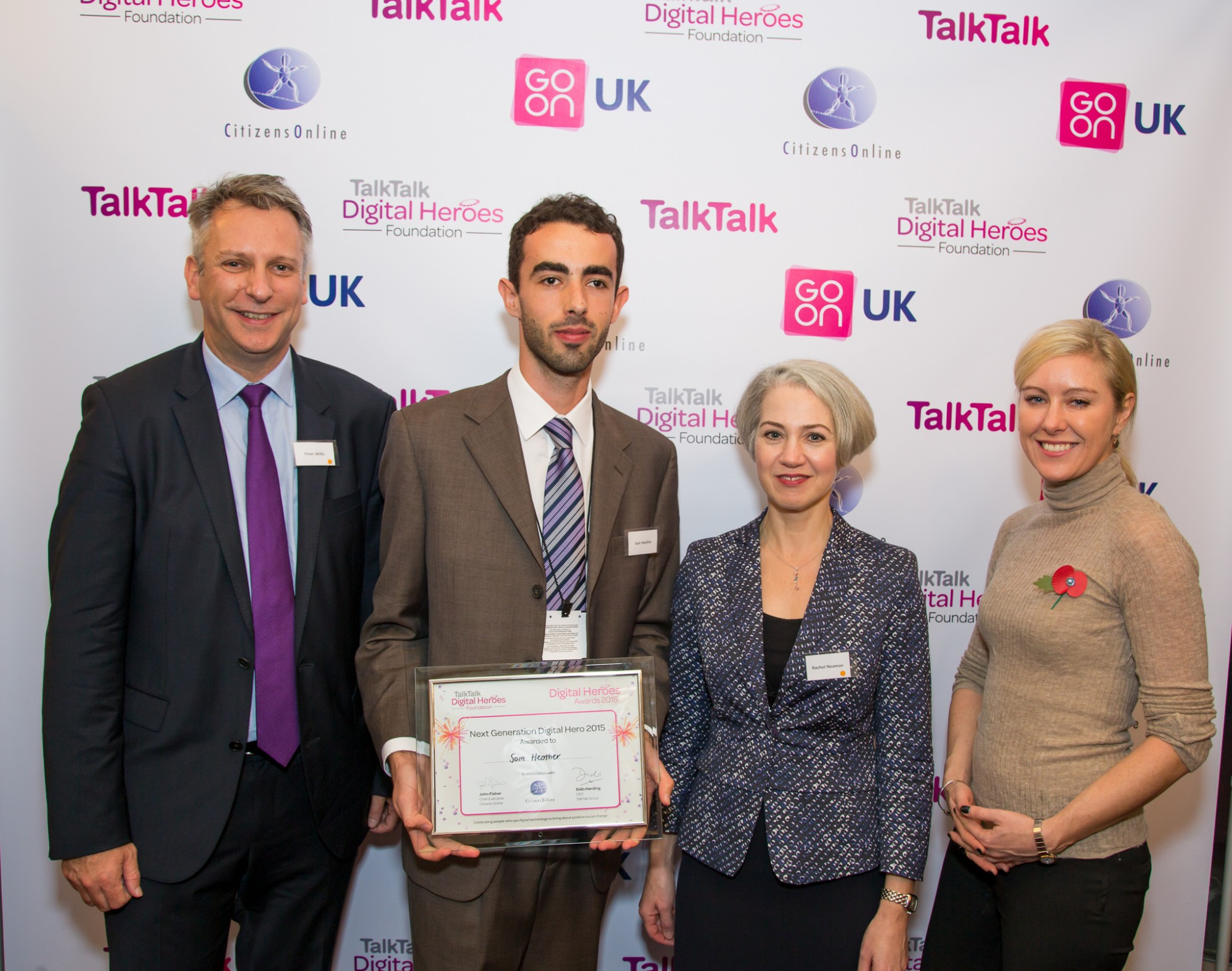 Picking up the award at the House of Lords. With: Peter Willis, myself, Rachel Neaman, Jessica Lennard (left-right)